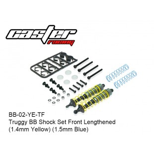 BB-02-YE-TF  Truggy BB Shock Set Front Lengthened (1.4mm Yellow) (1.5mm Blue)