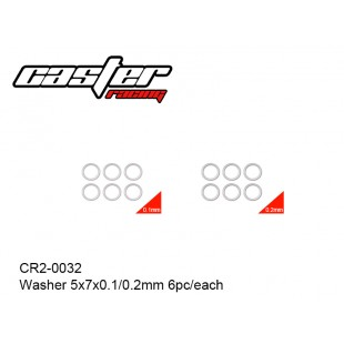 CR2-0032  Washer 5x7x0.1/0.2mm 6pc/each