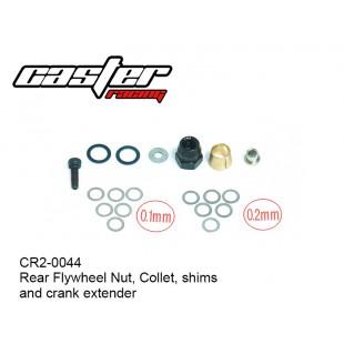 CR2-0044  Rear Flywheel Nut, Collet, shims and crank extender