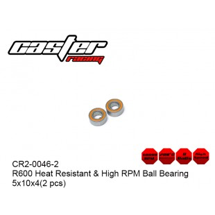 CR2-0046-2  R600 Heat Resistant & High RPM Ball Bearing 5x10x4(2 pcs)