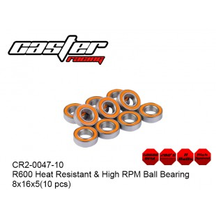 CR2-0047-10  R600 Heat Resistant & High RPM Ball Bearing 8x16x5(10 pcs)
