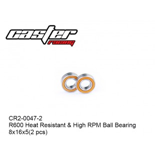 CR2-0047-2  R600 Heat Resistant & High RPM Ball Bearing 8x16x5(2 pcs)