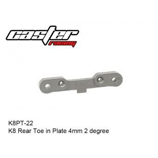 K8PT-22  K8 Rear Toe in Plate 4mm 2 degree