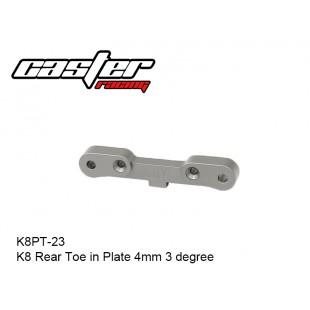 K8PT-23  K8 Rear Toe in Plate 4mm 3 degree