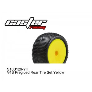 S10B129-YE  V4S Preglued Rear Tire Set Yellow 2PCS
