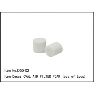 D55-O2  OVAL AIR FILTER FOAM (bag of 2pcs)