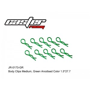 JR-0173-GR Body Clips Medium,Green Anodised Color 1.5*27.7