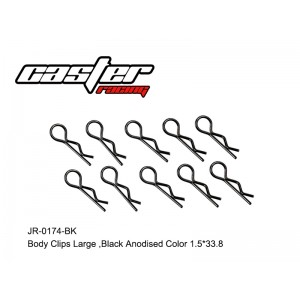 JR-0174-BK Body Clips Large,Black Anodised Color 1.5*33.8