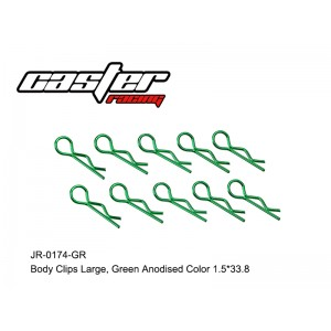 JR-0174-GR Body Clips Large,Green Anodised Color