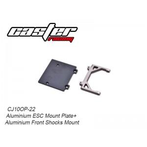 CJ10OP-22  Aluminium ESC Mount Plate+Aluminium Front Shocks Mount