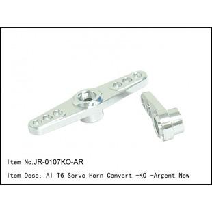 JR-0107KO-AR  Al T6 Servo Horn Convert -KO - Argent,New
