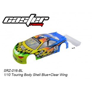 SRZ-016-BL  1/10 Touring Body Shell Blue + Clear Wing