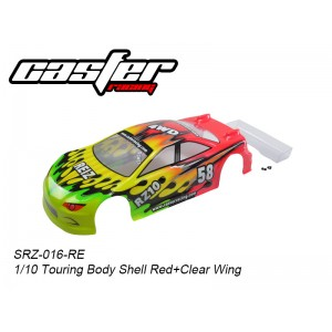 SRZ-016-RE  1/10 Touring Body Shell Red + Clear Wing