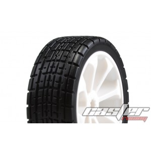 SRZ-040  1/10 Touring Pre-glued Tires,8 Spoke ,White