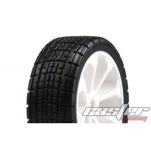 SRZ-040  1/10 Touring Pre-glued Tires,8 Spoke ,White