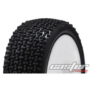 CR5-003-A24PW 1/8 Buggy Racing Tires XX Soft-A24 Pre-glued with White Wheels
