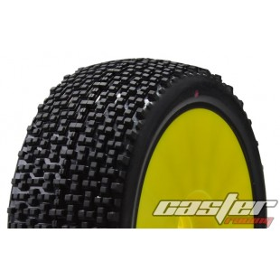 CR5-003-A24PY  1/8 Buggy Racing Tires XX Soft-A24 Pre-glued with Yellow Wheels