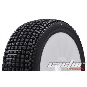 CR5-004-P27PW  1/8 Buggy Racing Tires X Soft-P27 Pre-glued with White Wheels