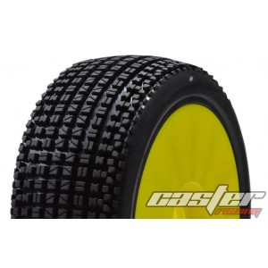 CR5-004-P27PY 1/8 Buggy Racing Tires X Soft-A27 Pre-glued with Yellow Wheels
