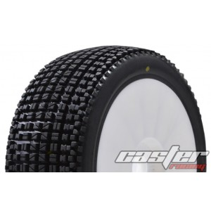 CR5-004-P35PW  1/8 Buggy Racing Tires Medium-P35 Pre-glued with White Wheels