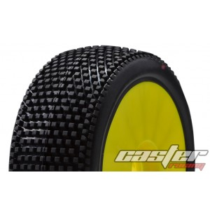 CR5-005-P24PY  1/8 Buggy Racing Tires XX Soft-P24 Pre-glued with Yellow Wheels