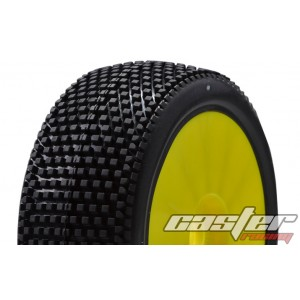 CR5-005-P27PY  1/8 Buggy Racing Tires X Soft-P27 Pre-glued with Yellow Wheels