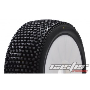 CR5-005-P35PW  1/8 Buggy Racing Tires Medium-P35 Pre-glued with White Wheels