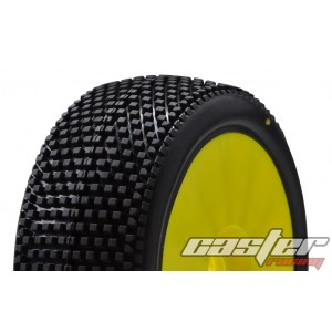 CR5-005-P35PY  1/8 Buggy Racing Tires Medium-P35 Pre-glued with Yellow Wheels