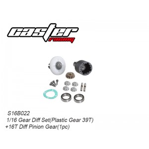 S16B022  Gear Diff Set(Plastic Gear 39T)+ 16T Diff Pinion Gear(1pc)