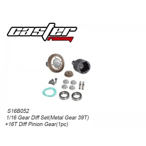 S16B052 Gear Diff Set(Metal Gear 39T)+16T Diff Pinion Gear(1pc)