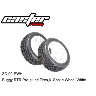 ZC-09-PWH  Buggy RTR Pre-glued Tires,6  Spoke Wheel,White