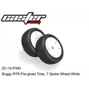 ZC-10-PWH  Buggy RTR Pre-glued Tires, 7 Spoke Wheel,White