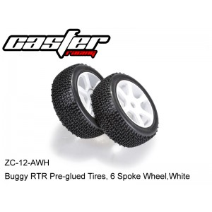 ZC-12-AWH  Buggy RTR Pre-glued Tires, 6 Spoke Wheel,White