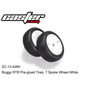 ZC-13-AWH  Buggy RTR Pre-glued Tires, 7 Spoke Wheel,White