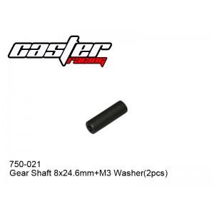 750-021 Gear Shaft 8*24.6mm + M3 Washer(2pcs)
