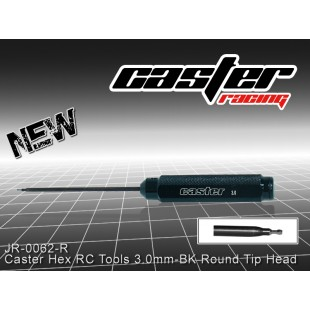 JR-0062-R  Caster Hex RC Tools 3.0mm-BK Round Tip Head