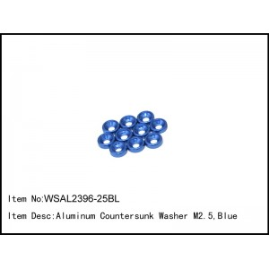 WSAL2396-25BL  Aluminum Countersunk Washer M2.5,Blue,10 pcs