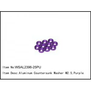 WSAL2396-25PU  Aluminum Countersunk Washer M2.5,Purple,10 pcs