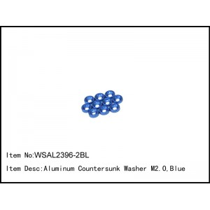 WSAL2396-2BL   Aluminum Countersunk Washer M2.0,Blue,10 pcs