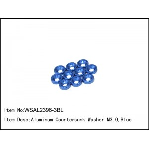 WSAL2396-3BL   Aluminum Countersunk Washer M3.0,Blue,10 pcs
