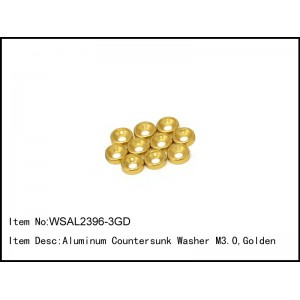WSAL2396-3GD   Aluminum Countersunk Washer M3.0,Golden,10 pcs