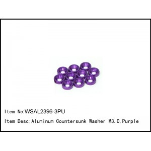 WSAL2396-3PU    Aluminum Countersunk Washer M3.0,Purple,10 pcs