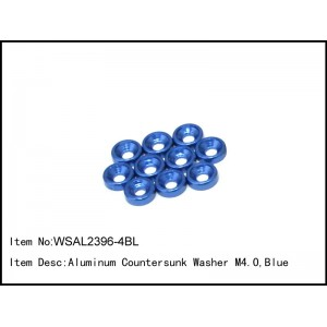 WSAL2396-4BL  Aluminum Countersunk Washer M4.0,Blue,10 pcs
