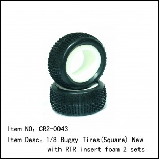 CR2-0043  1/8 Buggy Tires(Square) New with RTR insert foam 2 sets