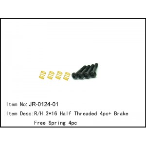 JR-0124-01  R/H 3*16 Half Threaded 4pc+ Brake Free Spring 4pc