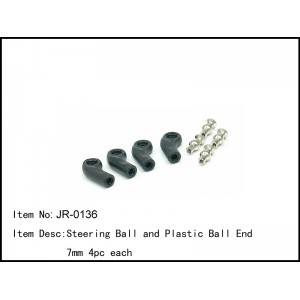 JR-0136  Steering Ball and Plastic Ball End 7mm 4pc each